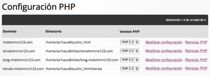 Configuración PHP