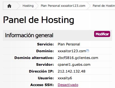 Datos de cuenta de hosting