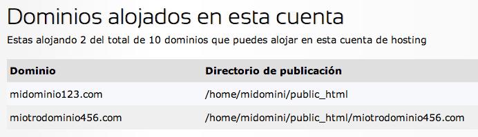 Dominios alojados en cuenta de hosting