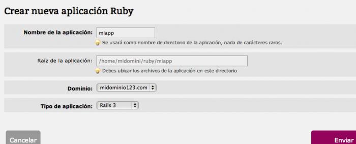 Configurar aplicación Ruby