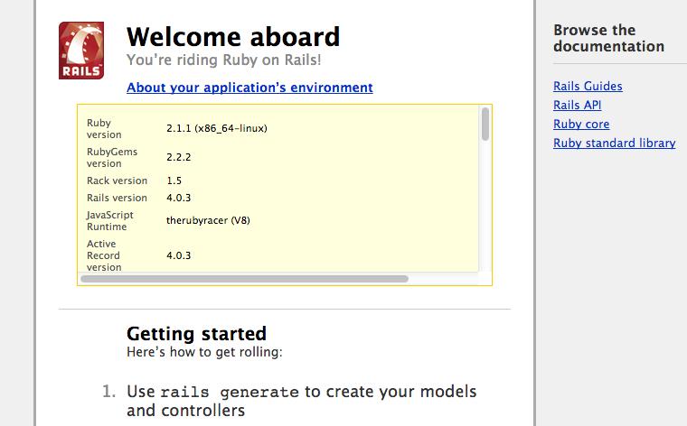 Bienvenida de Ruby on Rails