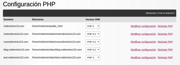 Pasos para modificar la configuración PHP