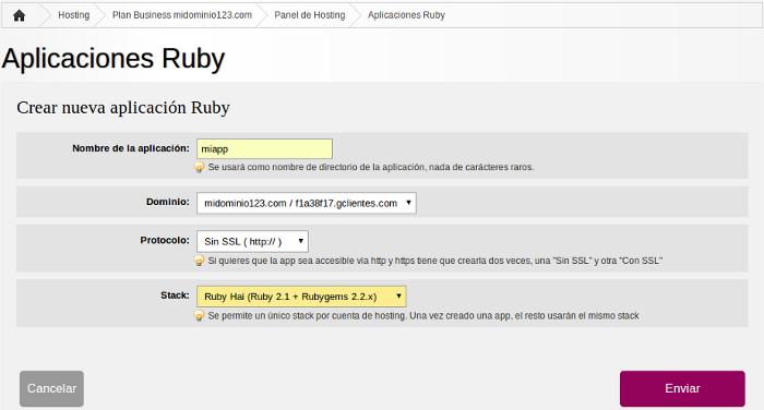 Configurar Aplicacion Ruby