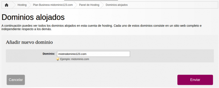 Como alojar dominio en nuestros servidores