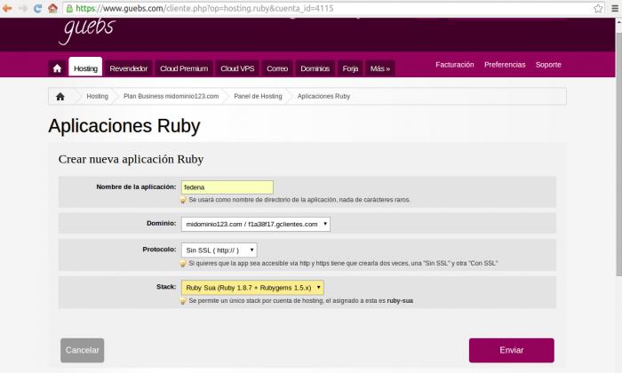 Crear aplicacion Ruby para instalar fedena
