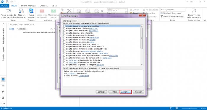 Configurar MS Outlook 2013 para atrapar correo SPAM en una carpeta