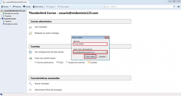 Configurar Mozilla Thunderbird para atrapar correo SPAM en una carpeta