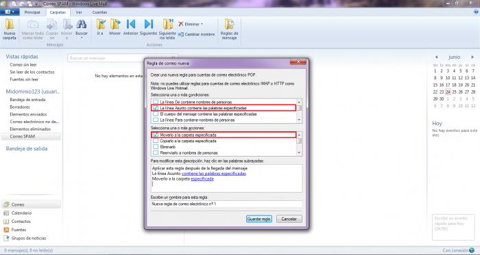 Configurar Windows Mail para atrapar correo SPAM en una carpeta