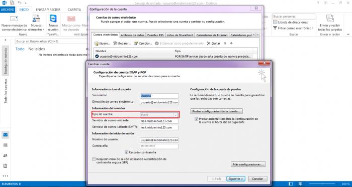 Verificar si utilizo POP o IMAP en Microsoft Outlook 2013