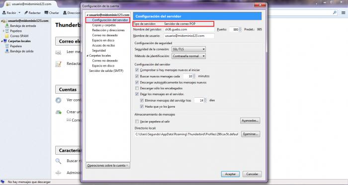 Verificar si utilizo POP o IMAP en Mozilla Thunderbird
