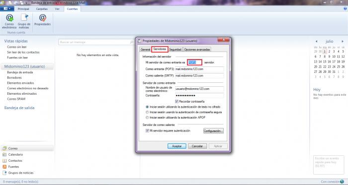 Verificar si utilizo POP o IMAP en Windows Mail