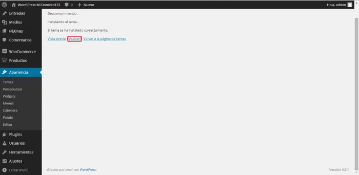 Instalar Theme en WordPress