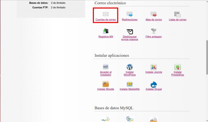 Ampliar espacio a una cuenta de correo desde el panel de hosting