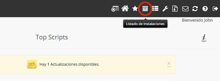 Acceder al listado de aplicaciones de Softaculous