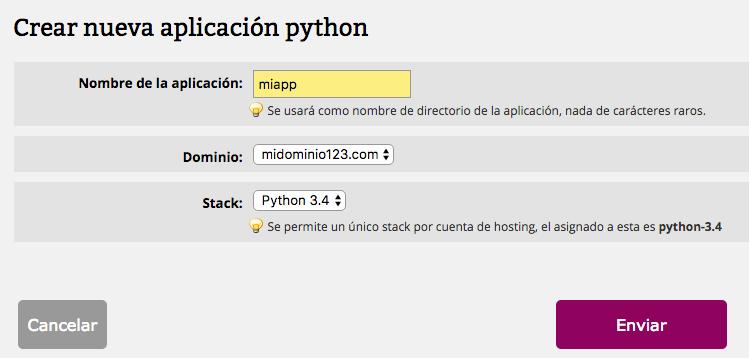 Python definir aplicación